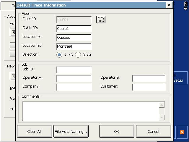 Preparing Your OTDR for a Test Naming Trace Files Automatically 7. Press File Autonaming to set up the trace file name options. 8.