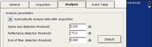 Testing Fibers in Advanced Mode Enabling or Disabling Analysis After Acquisition To enable or disable the analysis after trace acquisition: 1. From the button bar, press OTDR Setup. 2.