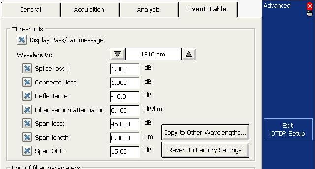 Testing Fibers in Advanced Mode Setting Pass/Fail Thresholds To set pass/fail thresholds: 1. From the button bar, select OTDR Setup, then select the Event Table tab. 2.
