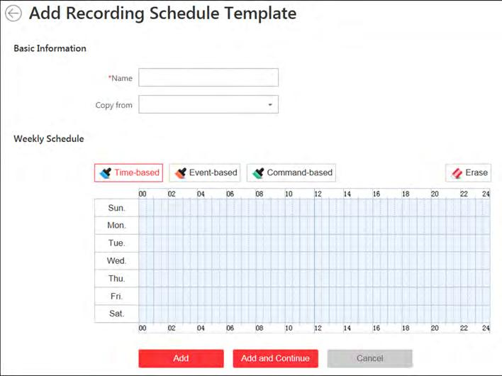 3. Select the HDD to store the captured pictures. 4. Click Save. 12.4 Configure Recording Schedule Template Recording schedules are time arrangements for video recording.