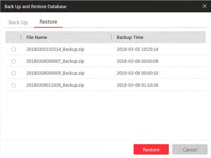 Figure 21-2 Database Restore 4. Click Restore to confirm the database recovery.