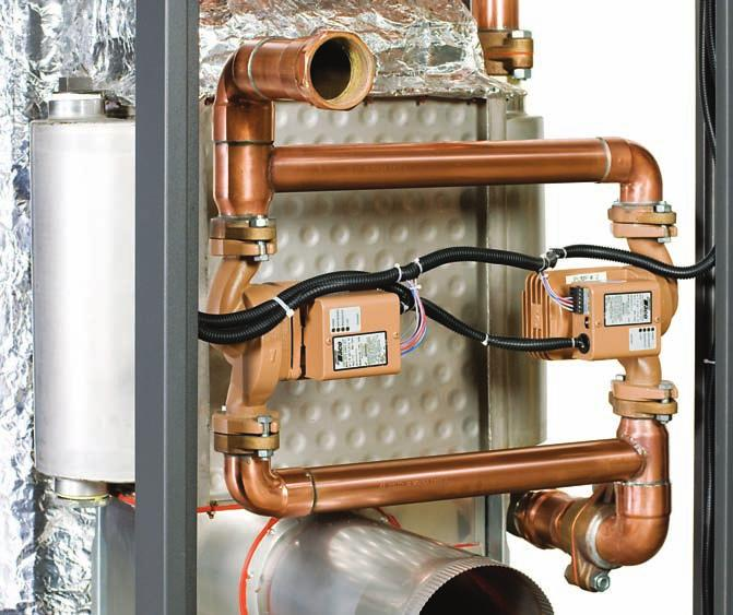 The system utilizes one or two variable speed pumps, depending on model size and type, to inject just the right amount of water from the main system loop into the heater to maintain the optimum inlet