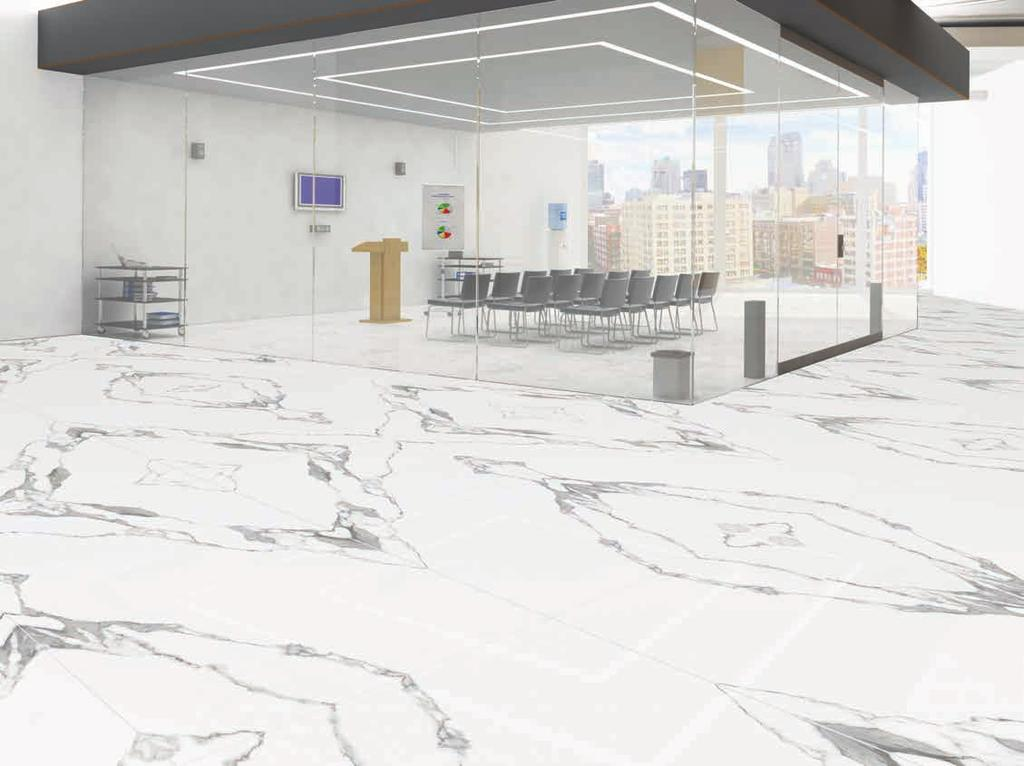 ROYAL CARE 240 x 120 cm S L A B S THE WHITE PASSION BOOK MATCH Another romantic white marble experience created in authentic vitrified slabs with anti-microbial CARE value proposition.