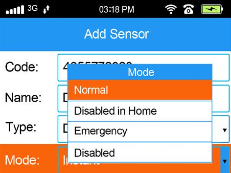 Sensor Modes There are four Modes which you can choose from for how sensors will behave. Normal In this mode, if the alarm is Away Armed or Home Armed, then the sensor will trigger the alarm.