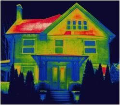 The thermal image above shows you the sources of air leaks in a typical
