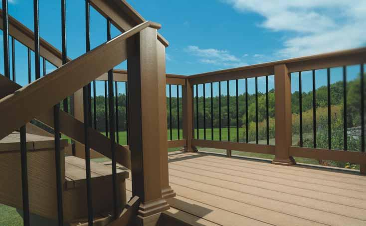 Colors:, and Redwood Rail Kit conveniently includes material for one straight or stair rail section (available in 6' or 8' sections) Baluster Kit contains Solid