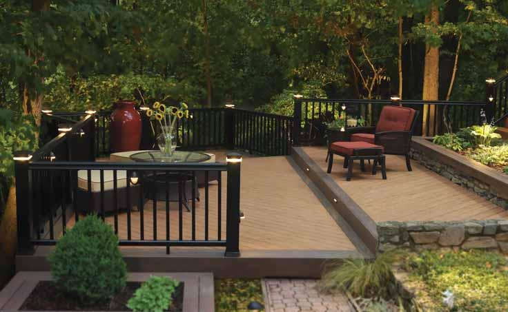 Curved Railing & Gates give your deck a custom, fi nishing touch with TimberTech Railing Systems curved to your specifi cation or made into custom gates; TimberTech planks can also be curved