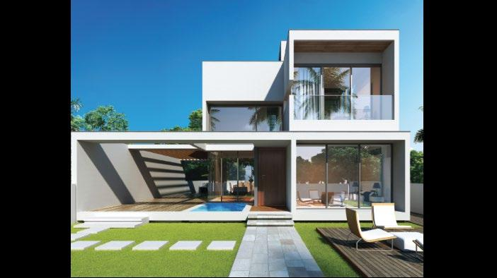 4 BHK villas Double-height in living rooms Contemporary design with floating plinth Personal swimming