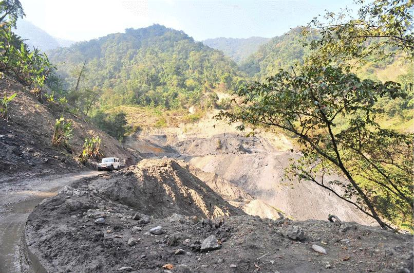 SITE IN ARUNACHAL PRADESH Landslide area Road constructed on both sides.
