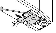 Putting into operation u Unscrew Fig. 6 (29)the bearing element Fig. 6 (28) transfer it to the opposite location hole of the turn hinge and screw it firmly into place. u Re-insert the stopper Fig.