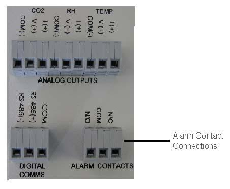 SECTION 4 ACCESSORY INSTALLATION Connecting Alarm Contacts (ALRM302) With the purchase of ALRM302, a set of terminals on the rear of the unit is provided to monitor temperature and humidity alarms.