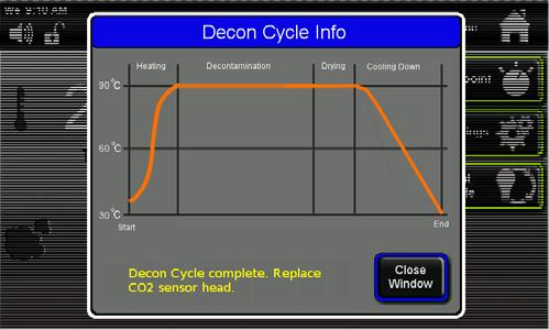 When the Decon Cycle is complete there is a message displayed on the Decon Cycle Info screen that tells you that the cycle is complete and that is safe to replace the CO2 sensor.