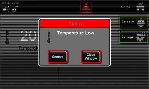 Alarm condition icon Alarm Screen Alarm condition Snooze Button Close Window Snoozing the speaker: When in an alarm condition, the speaker can be temporarily silenced to avoid being a nuisance to