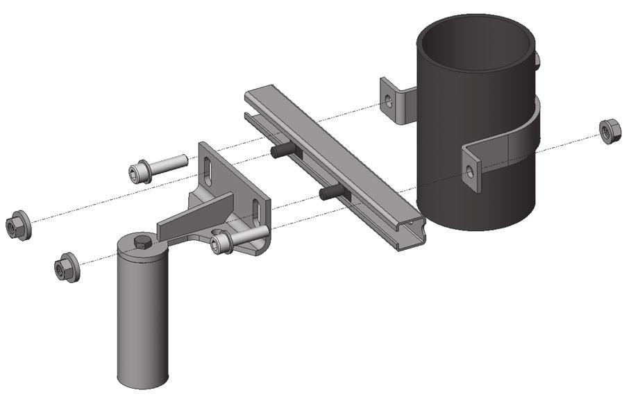 Assembling the suspension unit Installation of the guide holder or pipe extension for pipe mounting The pipe extension corresponds to a guide holder except that it has two holders.