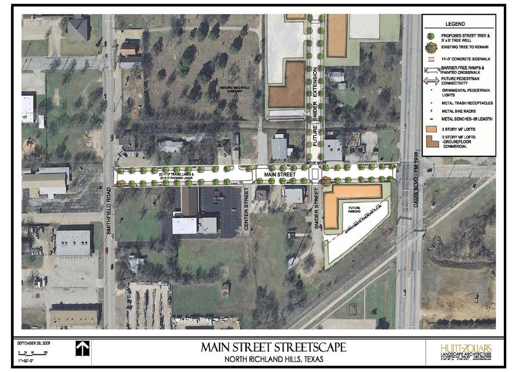 App No. 92: City of North Richland Hills Main Street Streetscaping Project Project Area Aerial Map showing Project Area Boundaries, Street Names, and Key Features.