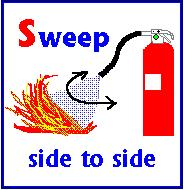 Sweep from side to side until the fire is completely out Start
