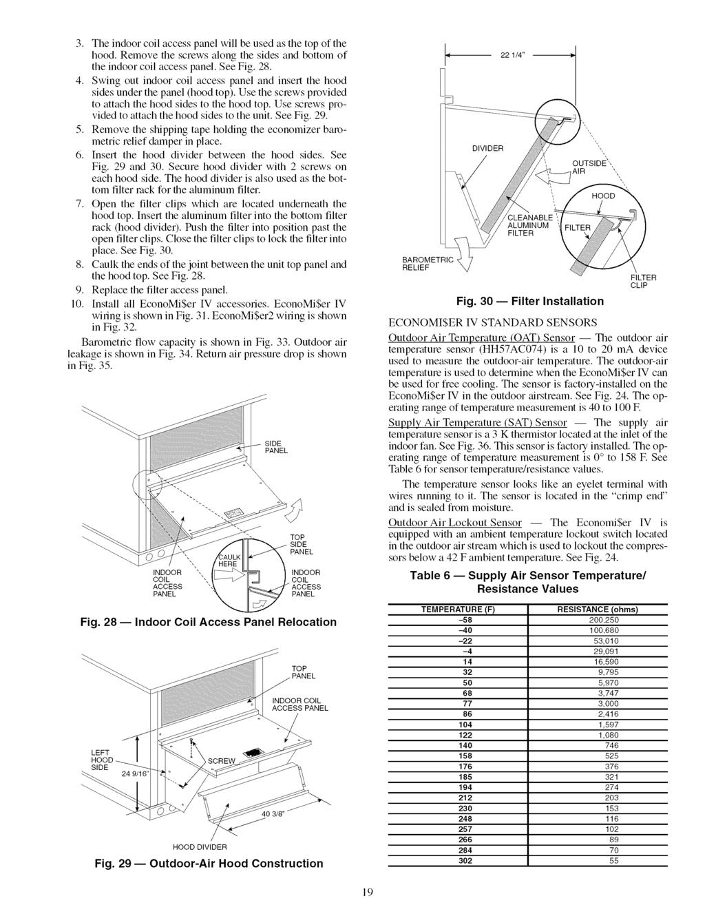 3. The indoor coil access panel will be used as the top of the hood. Remove the screws along the sides and bottom of the indoor coil access panel. See Fig. 28. 4.