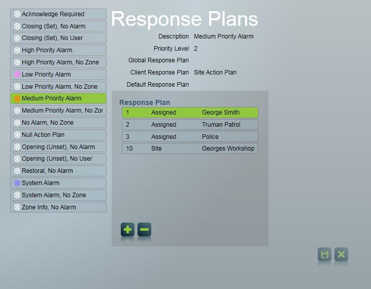 Types and Action Plans can be as defined in the template the site is using or customised on a template or site basis. Response Select the Response item in the menu at left of the screen.