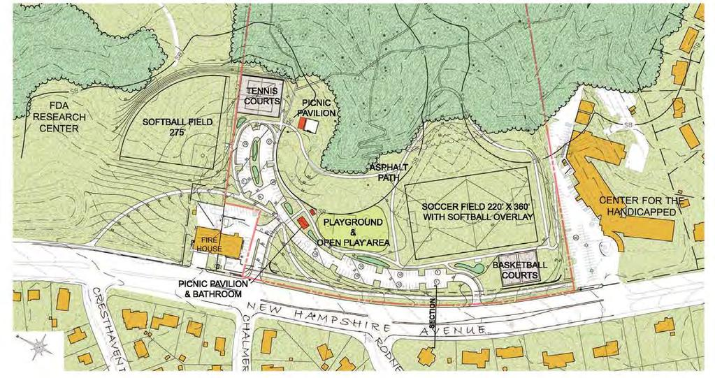 PROS AND CONS - Scheme 1 Pros Open space and fields adjacent to woodland Parking is centrally located and easily shared by all uses Cons