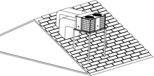 4. Installation 4.1 For roof top applications using a field fabricated frame and ducts: The frame must be located and secured by bolting or welding to the roof. Flashing is required.