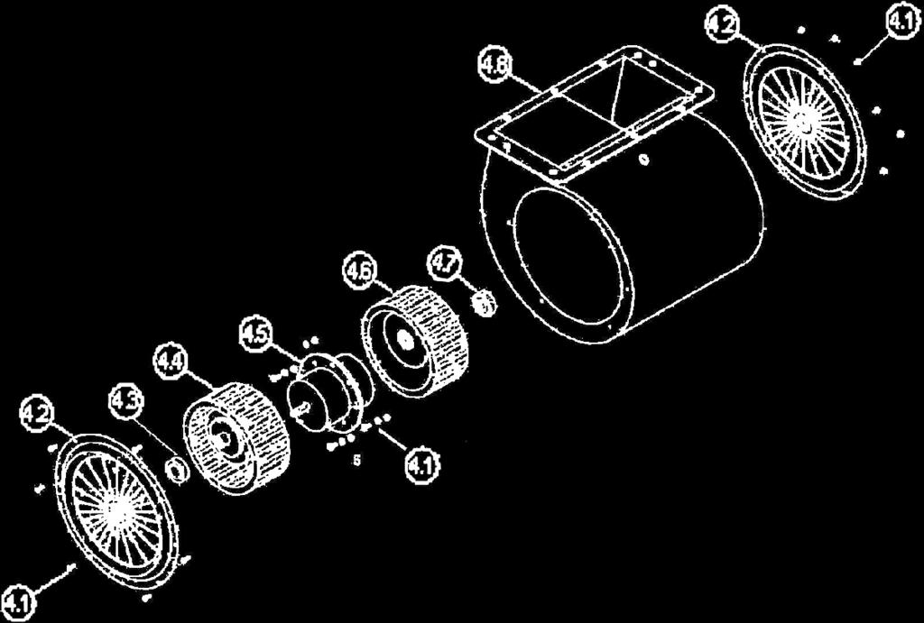 Blower Assembly: No. Description No. Description 4.1 Air Chamber 4.5 Motor 4.