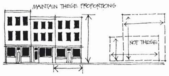 New buildings should retain the height and width characteristics of the surrounding buildings on the city block or should retain historic height and width characteristics of former building(s)