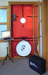 To quantify the amount of leakage in your home, a blower door test was performed.