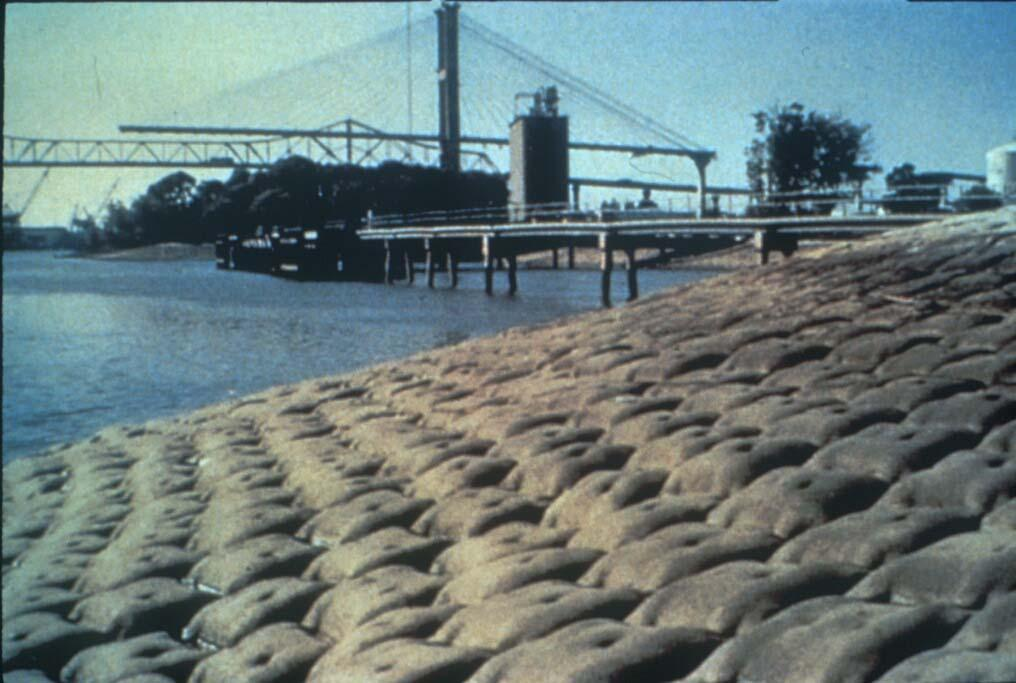 Hard Armor Erosion Control on Riverbank Concrete cast in a