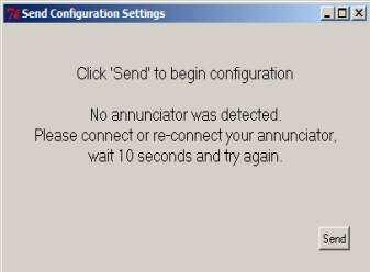 Once selected the Communications Port will be displayed and the Send command key should be pressed