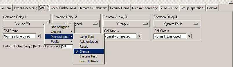 In the example below Relay 1 is being assigned to Group 1 and a left mouse click would complete the selection.