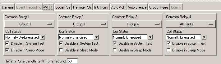 WR Relay Operation Whilst In Sleep Mode On systems supplied after 1 st February 2010 using configuration software version 2.0.5 or higher the common relays can be selected to operate during sleep mode or can be inhibited if required.