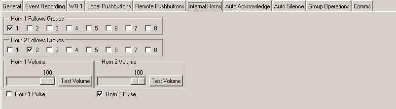 Internal Horns Tab 2 x Internal Horns, Horn 1 & Horn 2, are supplied with each 725B Annunciator and these can be assigned to follow any of the Horn Groups. In the example shown below:- 1.