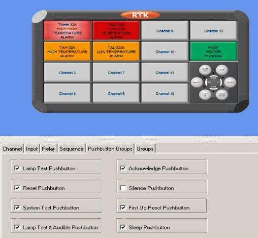Pushbutton Groups Global Pushbutton Groups Pushbutton functions are available on 725B annunciators which can be used to Test or control the alarms in accordance with ISA S18.1 Alarm Sequences.