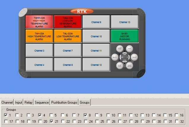 Alarm Groups Each channel within the annunciator can be linked to form part of a single or multiple Alarm Group (Group 1 to 8).