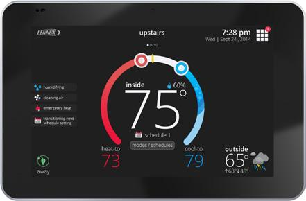 The icomfort S30 Ultra Smart Thermostat recognizes and connects to all icomfort communicating products to automatically configure and control the heating/cooling system (based on user-specified