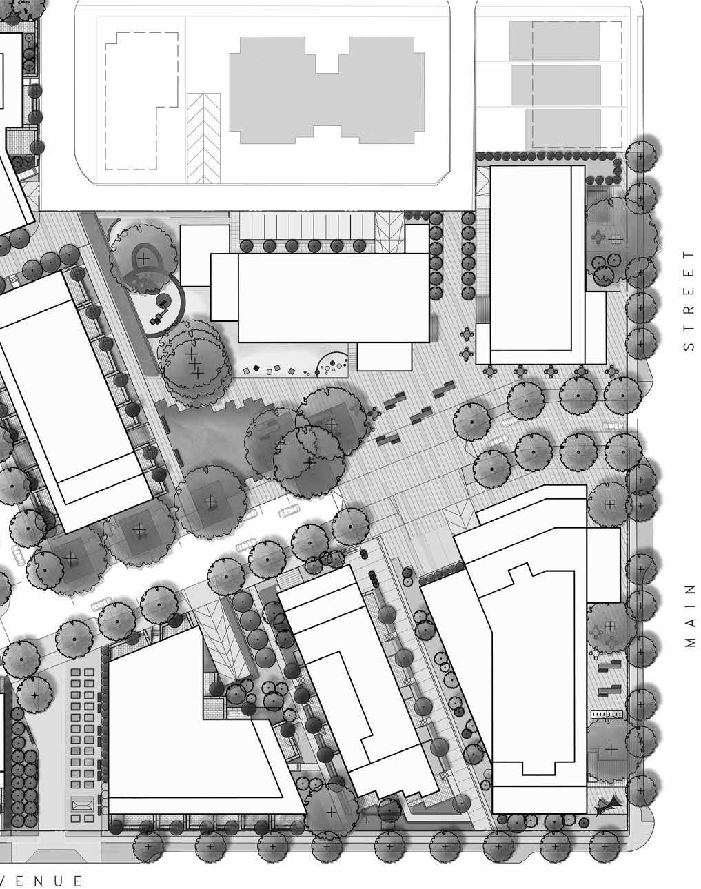 3.3 Parks and Open Spaces Plan Figure 3-8: Community Green and Plaza Figure 3-11: Community Plaza 3.3.1 Community Plaza The Community Plaza is the social heart of the site and is organized around a number of significant retained trees.