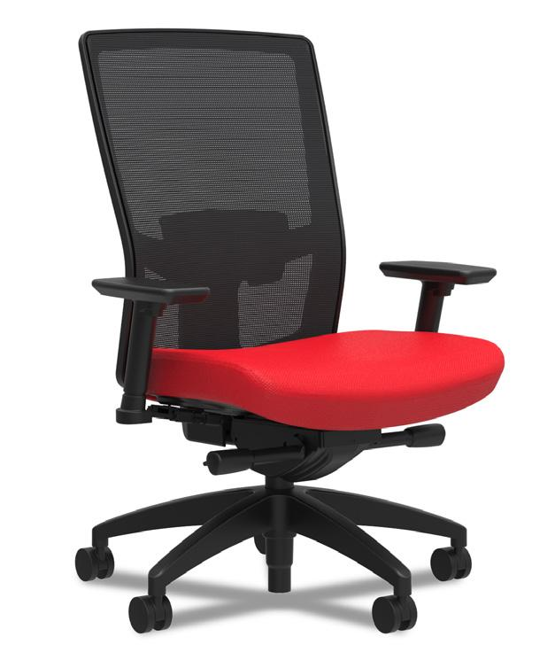 Angle Lumbar Support Seat Fabric 500 Task Chair Black frame and base with Black Mesh back Shown with Additional Options: Adjustable