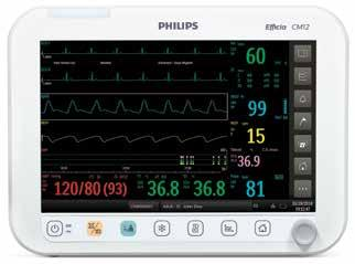 "Main components Display The Efficia CM12 patient monitor gives you a 12"" color LCD screen (touch screen optional)."