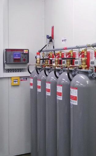 FUNCTION OF THE SYSTEM: Gas extinguishing equipment is used for extinguishing fires in closed and partially open areas.