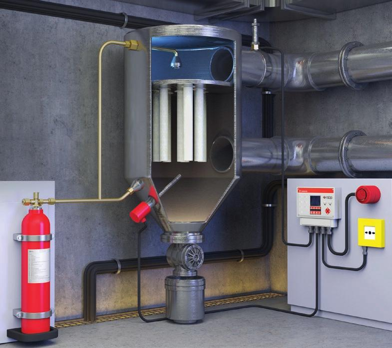 The extinguishing agent is dispersed evenly in the protected space using special nozzles designed precisely for the specific type of extinguisher.