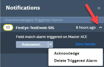 The Triggered Alarms View is broken up into two different elements: Unacknowledged Triggered Alarms System Notifications The Unacknowledged Triggered Alarms will show a full