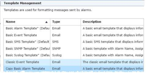 The out of the box templates cannot be edited, but can be copied. Highlight the Basic Alarm Template and select Copy.