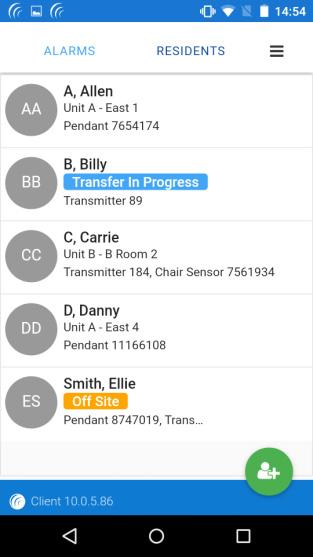 Mobile Client How do I transfer a resident that has a 9450 wander transmitter assigned to them to another unit within the facility? 1. From the Residents page, click on the resident s name 2.