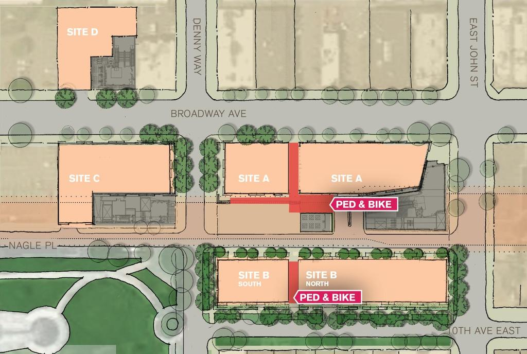PEDESTRIAN AND BICYCLE AMENITIES Mid block passthroughs Limited auto access to Nagle Place Extension Approx.