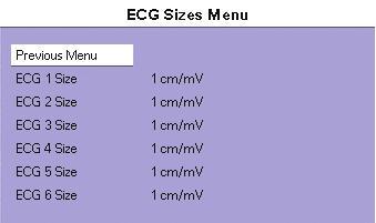 Menus: ECG Main and Submenus ECG Monitoring ST Menu 4.4.4 ECG Sizes Menu f MENU ITEM SELECTIONS COMMENTS J/ST 4 to 200 msec Select to adjust J and ST measurement points.