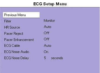 FIGURE 4-9 ECG Sizes Menu To display the ECG Sizes Menu: 1. On the front panel: Press the Normal Screen key to return to the normal screen. 2.