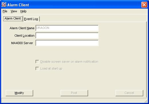 3-2 Configuring Alarm Client Figure 3-1 Alarm Client Alarm Client Tab The Alarm Client tab displays information defined during the installation.