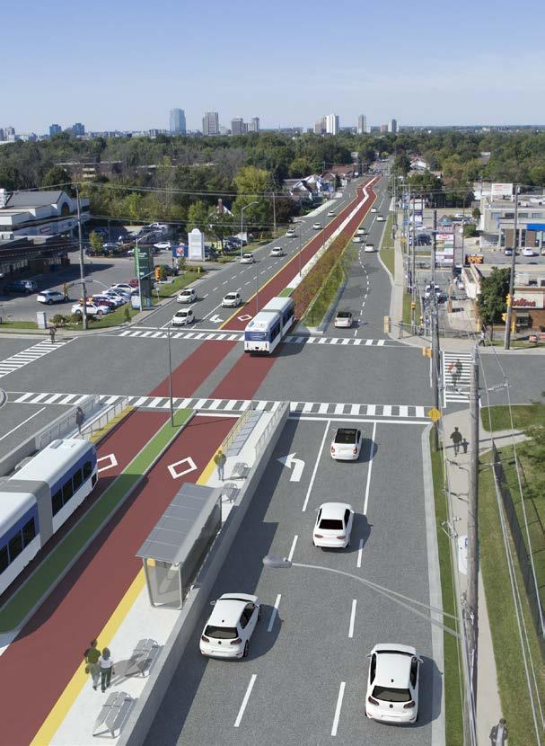 Corridor Design Dedicated lanes to: Ensure reliable service Avoid delays to auto traffic caused by bus boardings/alightings Flexibility to accommodate and