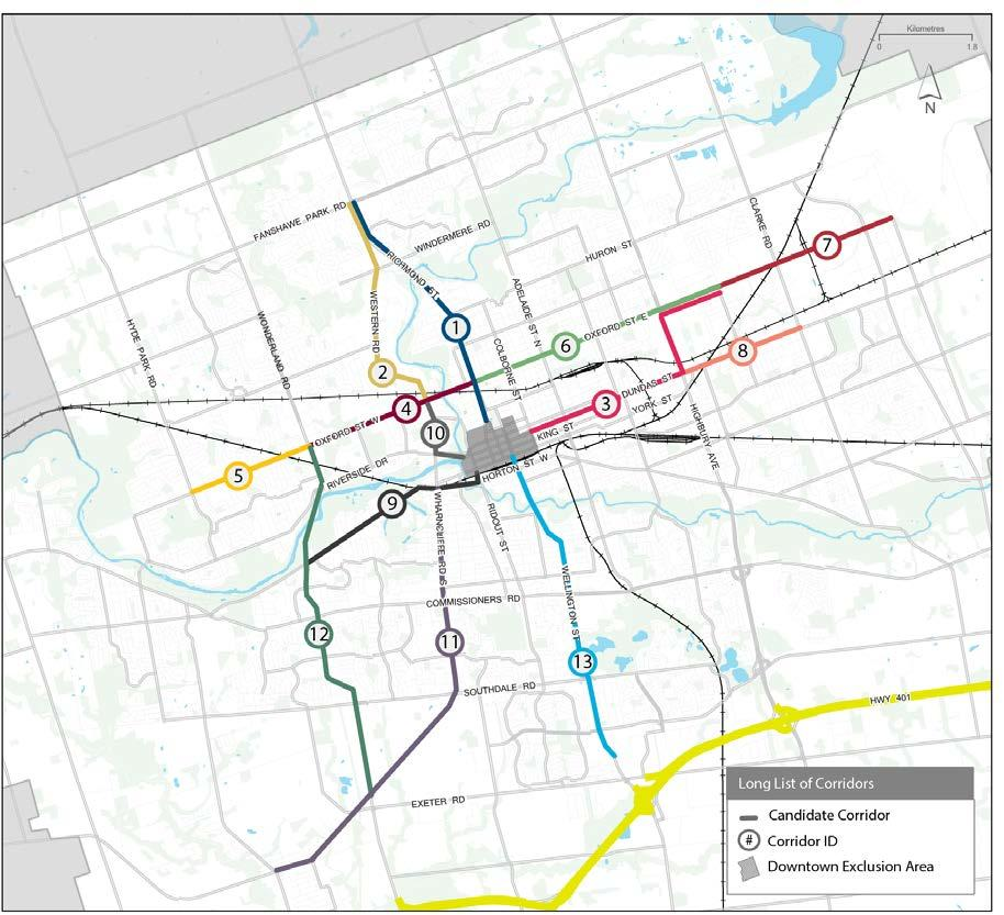 Initial Corridors Examined Key criteria for shortlisting potential routes included: Ridership (existing and future) Connection to