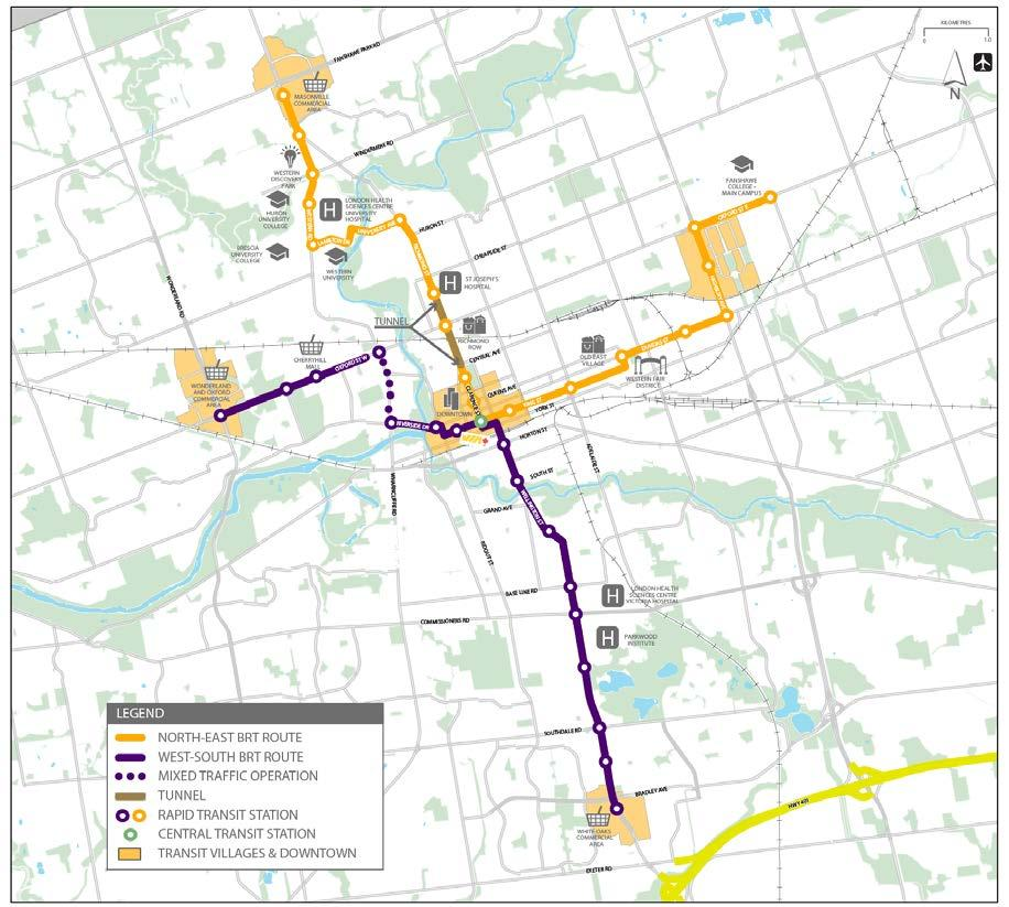 Proposed Corridors 24 km network 34 rapid transit stations 27 articulated buses Serves many